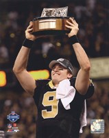 Drew Brees 2009 With NFC Championship Trophy Fine Art Print