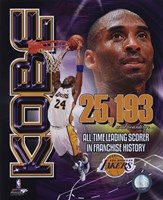Kobe Bryant Los Angeles Lakers All-Time Leading Scorer Portrait Plus Fine Art Print