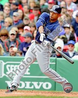 Carl Crawford 2010 Action Hitting Fine Art Print