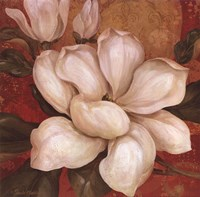 Magnolia On Red I - mini Framed Print
