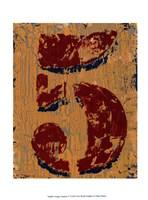 Vintage Numbers V Framed Print