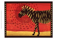 Woodblock Zebra Fine Art Print