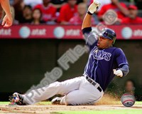 Carl Crawford 2010 Action Sliding In To Base Fine Art Print