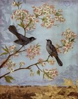 Catbirds & Blooms - mini Framed Print