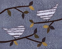 Aqua Songbirds II Framed Print