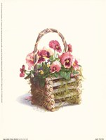 Log Cabin Pansy Basket Framed Print