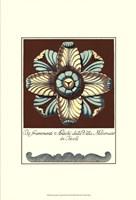 Aqua & Brown Rosette III Fine Art Print