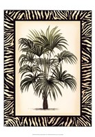 Small Palm in Zebra Border I Fine Art Print