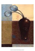 Ebony Vase with Blue Tulips I Fine Art Print