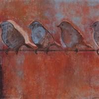 Row of Sparrows I Fine Art Print