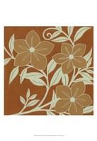 Tan Flowers with Mint Leaves I Fine Art Print