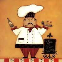 Chef with Wine and Cheese Framed Print