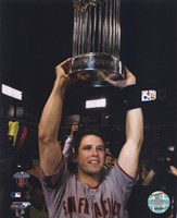 Buster Posey With World Series Trophy Game Five of the 2010 World Series Fine Art Print