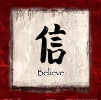 Believe - red border Framed Print