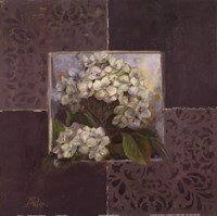 Hydrangeas on Brown I Fine Art Print