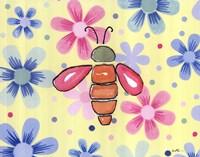 Funky Flower Bee Framed Print
