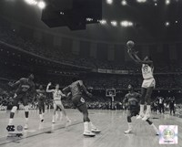 Michael Jordan University of North Carolina Game winning basket in the 1982 NCAA Finals against Georgetown Horizontal Action Framed Print