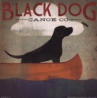 Black Dog Canoe Framed Print
