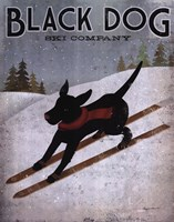 Black Dog Ski Framed Print