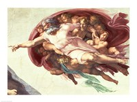 Sistine Chapel Ceiling: The Creation of Adam, detail of God the Father, 1508-12 Fine Art Print