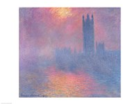 The Houses of Parliament, London, with the sun breaking through the fog, 1904 Framed Print