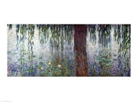 Waterlilies: Morning with Weeping Willows, detail of the left section, 1915-26 Framed Print