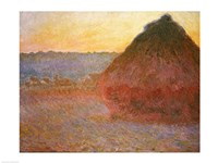 Haystacks, Pink and Blue Impressions, 1891 Framed Print