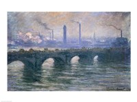 Waterloo Bridge, Cloudy Day, 1900 Fine Art Print