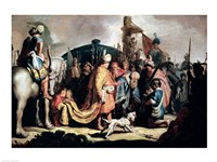 David Offering the Head of Goliath to King Saul Fine Art Print