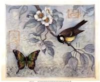 Blue Bird & Butterfly Fine Art Print