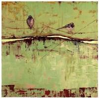 Birds on Horizon in Green Framed Print