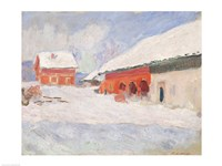 Norway, Red Houses at Bjornegaard, 1895 Fine Art Print