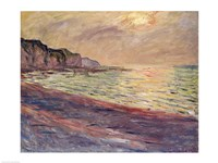 The Beach at Pourville, Setting Sun Fine Art Print