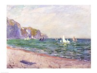 Boats below the Cliffs at Pourville, 1882 Fine Art Print