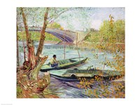 Fishing in the Spring. Pont de Clichy, 1887 Framed Print