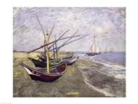 Fishing Boats on the Beach at Saintes-Maries-de-la-Mer Fine Art Print