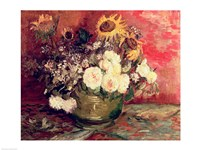 Sunflowers, Roses and other Flowers in a Bowl, 1886 Fine Art Print