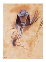 Jockey flexed forward standing in the saddle Fine Art Print