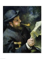 Claude Monet reading a newspaper Fine Art Print