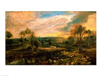 A Landscape with a Shepherd and his Flock Fine Art Print