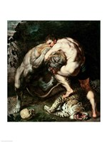 Hercules Fighting the Nemean Lion Framed Print