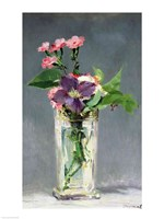 Pinks and Clematis in a Crystal Vase, c.1882 Fine Art Print