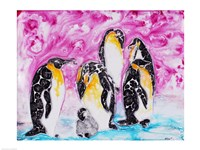 Penguins Under Magenta Sky Fine Art Print