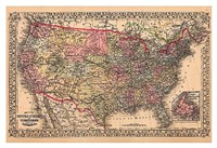 Map of the United States, 1867 Fine Art Print