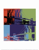 Brooklyn Bridge, 1983 (orange, blue, lime) Fine Art Print