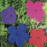 Flowers, c. 1964 (1 purple, 1 blue, 1 pink, 1 red) Fine Art Print