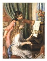 Two Young Girls at the Piano Framed Print