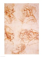 Seven Studies of Grotesque Faces Fine Art Print
