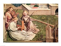 The Fountain of Grace, detail of three angel musicians Fine Art Print