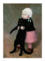 A Small Girl with a Cat, 1889 Fine Art Print